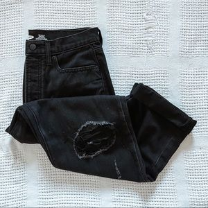 OLD NAVY   Black Straight Distressed Jeans Sz 8